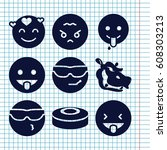 set of 9 comic filled icons... | Shutterstock .eps vector #608303213