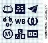 set of 9 alphabet filled icons... | Shutterstock .eps vector #608307677