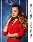 beautiful elegant woman with...   Shutterstock . vector #608324393