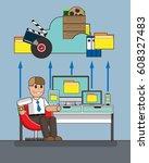vector concept cloud storage... | Shutterstock .eps vector #608327483