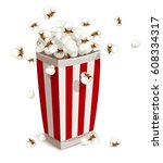 paper cup full of popcorn. fast ... | Shutterstock .eps vector #608334317