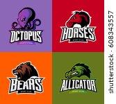 furious octopus  horse  bear... | Shutterstock .eps vector #608343557