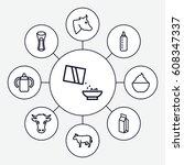 milk icons set. set of 9 milk... | Shutterstock .eps vector #608347337