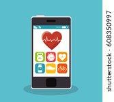 smartphone with fitness app | Shutterstock .eps vector #608350997