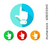 set of colored hand cursor... | Shutterstock .eps vector #608353343