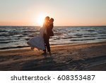 just married. beautiful young... | Shutterstock . vector #608353487