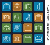 briefcase icons set. set of 16...   Shutterstock .eps vector #608353943