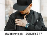 fashionable man in a black... | Shutterstock . vector #608356877