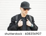 handsome stylish man in... | Shutterstock . vector #608356907