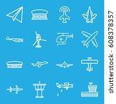 aviation icons set. set of 16... | Shutterstock .eps vector #608378357