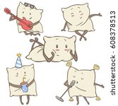 set 5 of unique cartoon pillows ... | Shutterstock .eps vector #608378513