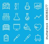 analysis icons set. set of 16... | Shutterstock .eps vector #608383277