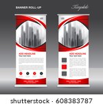 red roll up banner template... | Shutterstock .eps vector #608383787