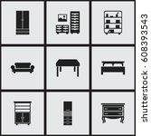 set of 9 editable furniture...