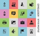 Set Of 16 Editable Office Icon...