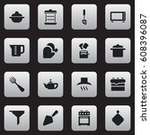 set of 16 editable cook icons.... | Shutterstock .eps vector #608396087