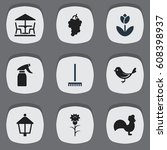 set of 9 editable garden icons. ...