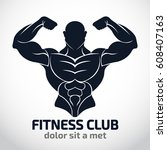 bodybuilder logo template... | Shutterstock .eps vector #608407163
