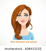 cute young woman with hair... | Shutterstock .eps vector #608413133