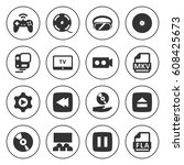 set of 16 video filled icons... | Shutterstock .eps vector #608425673