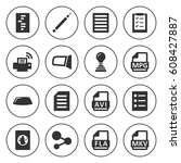 set of 16 document filled icons ... | Shutterstock .eps vector #608427887