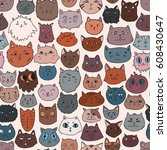 cat faces seamless pattern.... | Shutterstock .eps vector #608430647