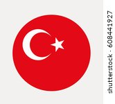 flag of turkish in a circle.... | Shutterstock .eps vector #608441927