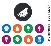 set of 9 sweet filled icons...   Shutterstock .eps vector #608442017