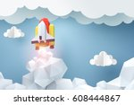 paper art of space shuttle... | Shutterstock .eps vector #608444867