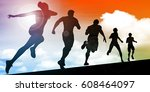 sunset silhouette of men and... | Shutterstock . vector #608464097