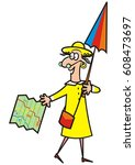 lady  guide  vector icon | Shutterstock .eps vector #608473697