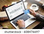 insurance coverage mix... | Shutterstock . vector #608476697