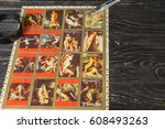 collecting postage stamps.... | Shutterstock . vector #608493263
