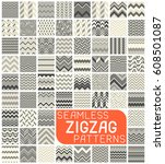 seamless zigzag pattern set.... | Shutterstock .eps vector #608501087