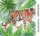 walking tiger in the jungle... | Shutterstock .eps vector #608526467