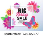 big spring sale banner with... | Shutterstock .eps vector #608527877