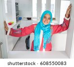 young muslim arabic woman in... | Shutterstock . vector #608550083