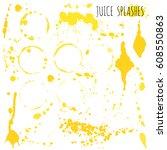 juice orange and apple splashes ... | Shutterstock .eps vector #608550863