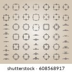 circle and square wicker... | Shutterstock .eps vector #608568917