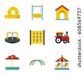 modern children playground... | Shutterstock . vector #608569757
