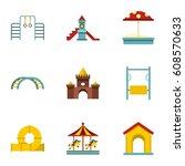kids playground icons set. flat ... | Shutterstock . vector #608570633