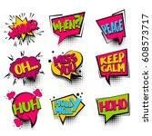winner  keep calm set comic... | Shutterstock .eps vector #608573717