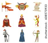 medieval cartoon characters and ... | Shutterstock .eps vector #608573933