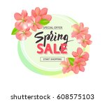 spring sale background with... | Shutterstock .eps vector #608575103