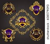 set of golden royal shields... | Shutterstock .eps vector #608579093