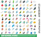 100 school icons set in...