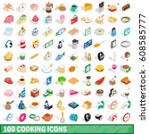 100 cooking icons set in... | Shutterstock . vector #608585777