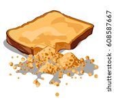 crumbled a piece of bread... | Shutterstock .eps vector #608587667