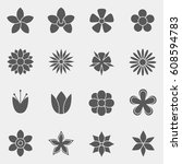 vector. the set of flowers for... | Shutterstock .eps vector #608594783