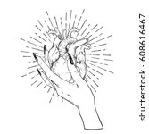 human heart in graceful female... | Shutterstock .eps vector #608616467